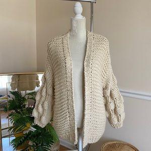 VICI Tan Wide Sleeve Chunky Knit Cardigan S
